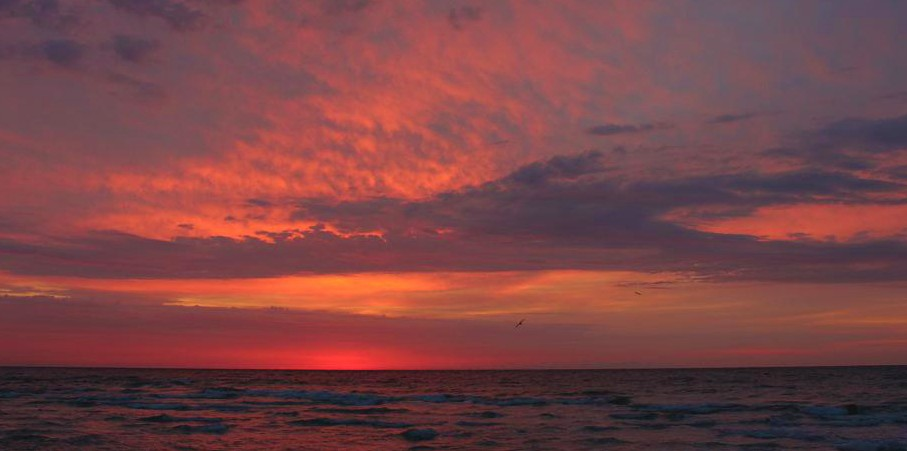 December Sunrise with pinks and oranges on Pensacola Beach, Florida