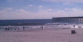 Fun offshore surf in December 2012 on Pensacola Beach, Florida by the Pensacola Gulf Beach Pier.